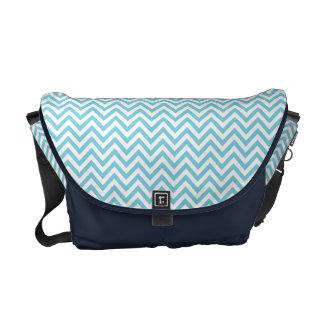 Blue and White Zigzag Stripes Chevron Pattern Commuter Bag