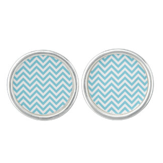 Blue and White Zigzag Stripes Chevron Pattern Cuff Links
