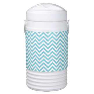 Blue and White Zigzag Stripes Chevron Pattern Drinks Cooler