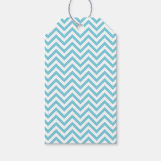 Blue and White Zigzag Stripes Chevron Pattern Gift Tags