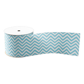 Blue and White Zigzag Stripes Chevron Pattern Grosgrain Ribbon