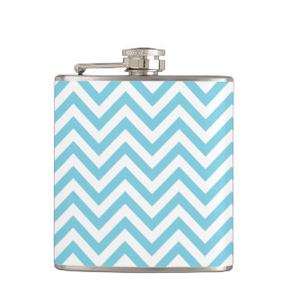 Blue and White Zigzag Stripes Chevron Pattern Hip Flask