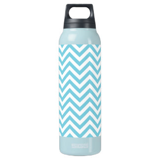 Blue and White Zigzag Stripes Chevron Pattern Insulated Water Bottle