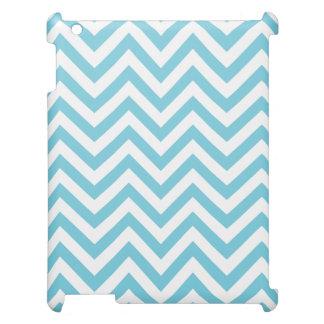 Blue and White Zigzag Stripes Chevron Pattern iPad Case