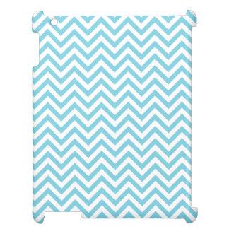Blue and White Zigzag Stripes Chevron Pattern iPad Cover