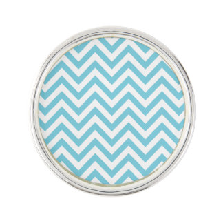 Blue and White Zigzag Stripes Chevron Pattern Lapel Pin