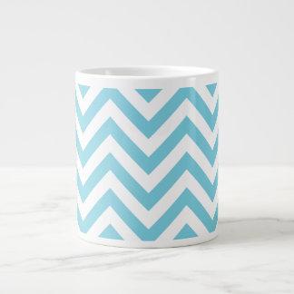 Blue and White Zigzag Stripes Chevron Pattern Large Coffee Mug