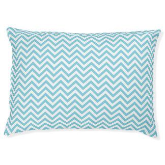 Blue and White Zigzag Stripes Chevron Pattern Large Dog Bed