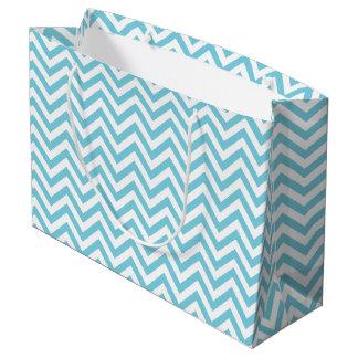 Blue and White Zigzag Stripes Chevron Pattern Large Gift Bag