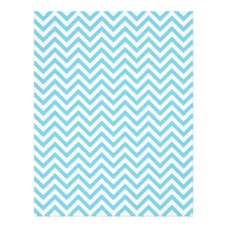 Blue and White Zigzag Stripes Chevron Pattern Letterhead