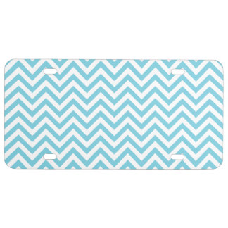 Blue and White Zigzag Stripes Chevron Pattern License Plate