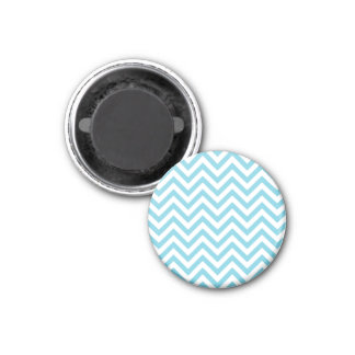 Blue and White Zigzag Stripes Chevron Pattern Magnet