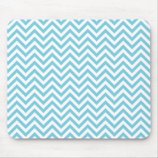 Blue and White Zigzag Stripes Chevron Pattern Mouse Pad