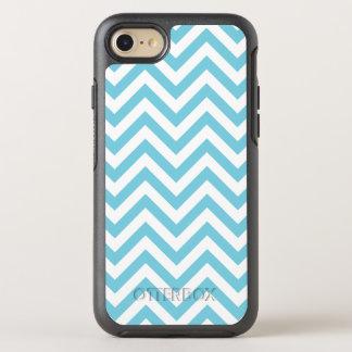 Blue and White Zigzag Stripes Chevron Pattern OtterBox Symmetry iPhone 7 Case