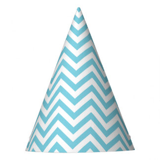 Blue and White Zigzag Stripes Chevron Pattern Party Hat