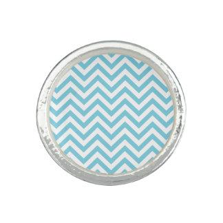 Blue and White Zigzag Stripes Chevron Pattern Photo Ring