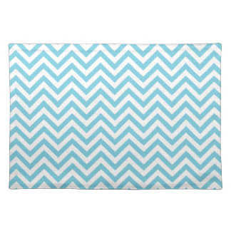 Blue and White Zigzag Stripes Chevron Pattern Placemat