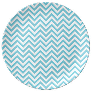Blue and White Zigzag Stripes Chevron Pattern Plate