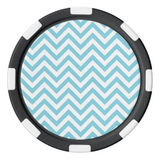 Blue and White Zigzag Stripes Chevron Pattern Poker Chips Set