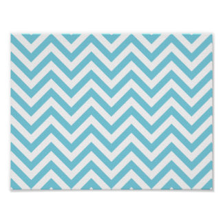 Blue and White Zigzag Stripes Chevron Pattern Poster