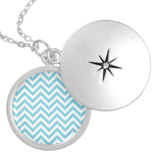 Blue and White Zigzag Stripes Chevron Pattern Silver Plated Necklace