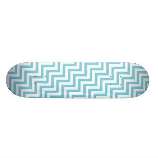 Blue and White Zigzag Stripes Chevron Pattern Skate Board Deck