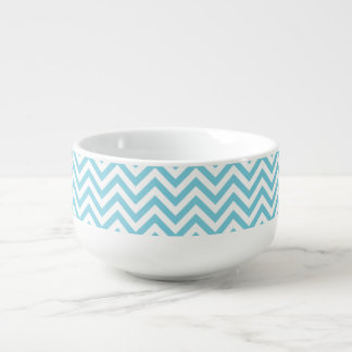 Blue and White Zigzag Stripes Chevron Pattern Soup Mug