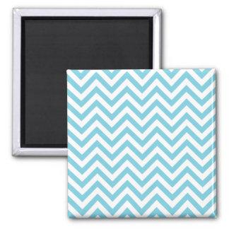 Blue and White Zigzag Stripes Chevron Pattern Square Magnet