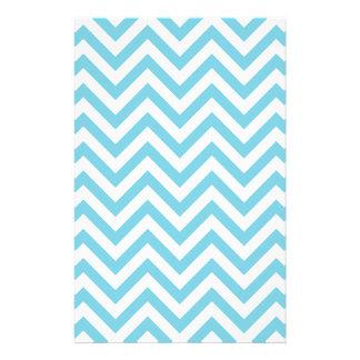 Blue and White Zigzag Stripes Chevron Pattern Stationery