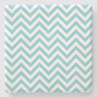 Blue and White Zigzag Stripes Chevron Pattern Stone Coaster