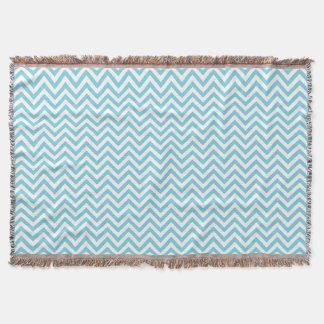 Blue and White Zigzag Stripes Chevron Pattern Throw Blanket