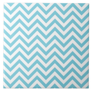 Blue and White Zigzag Stripes Chevron Pattern Tile