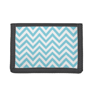 Blue and White Zigzag Stripes Chevron Pattern Tri-fold Wallet