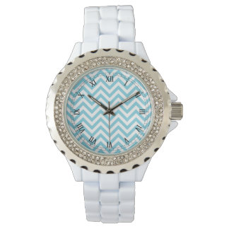 Blue and White Zigzag Stripes Chevron Pattern Watches
