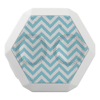 Blue and White Zigzag Stripes Chevron Pattern White Bluetooth Speaker