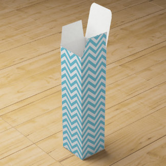 Blue and White Zigzag Stripes Chevron Pattern Wine Gift Box