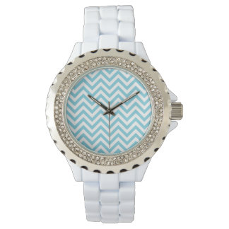 Blue and White Zigzag Stripes Chevron Pattern Wrist Watches