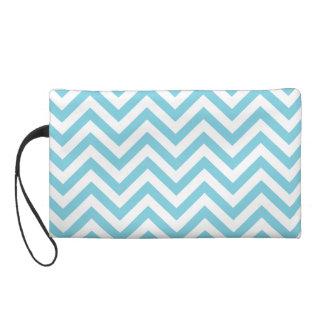 Blue and White Zigzag Stripes Chevron Pattern Wristlet