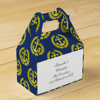 Blue and yellow  anchor nautical themed wedding favor boxes