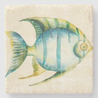 Blue and Yellow Aquarium Fish Stone Coaster