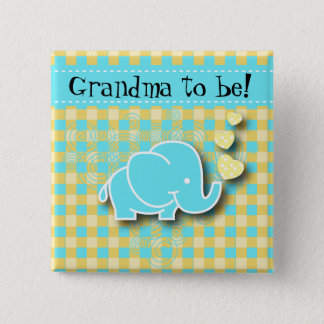 Blue and Yellow Baby Elephant | Grandma to be 2 Inch Square Button
