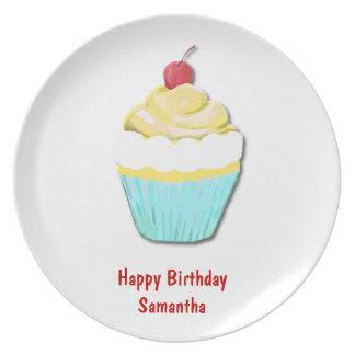 Blue and Yellow Birthday Cupcake Plate