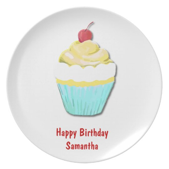 Blue and Yellow Birthday Cupcake Plate