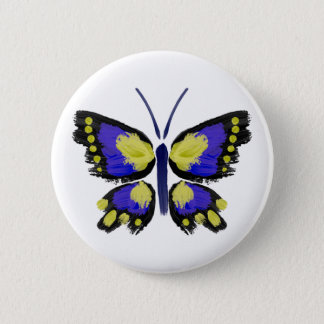 Blue and Yellow Butterfly 2 Inch Round Button