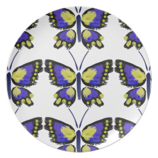Blue and Yellow Butterfly Plate