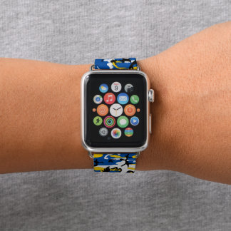 Blue and Yellow Camo Apple Watch Band