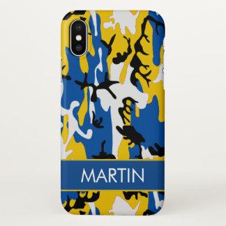 Blue and Yellow Camo Custom iPhone X Case