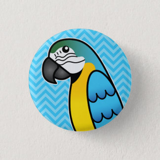 Blue And Yellow Cartoon Macaw Parrot Bird 1 Inch Round Button