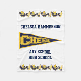 Blue and Yellow Cheerleader Fleece Blanket