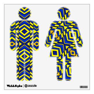 Blue and Yellow Chevron Pattern Wall Decal